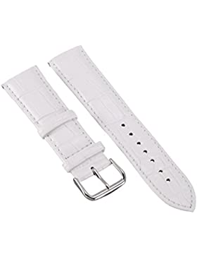 24mm Herren Damen Weiß Genuine Leder Vintage Klassische Uhren-Armband Uhrenarmbänder Uhrband Watch Band Watch...