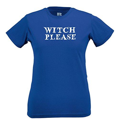 Neuheit Halloween Frauen T-Shirt Witch Bitte Slogan Blue XX-Large
