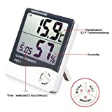 #10: Buyerzone HTC LCD Digital Display Thermometer Hygrometer Temperature Humidity Time Alarm Clock All in One (White)
