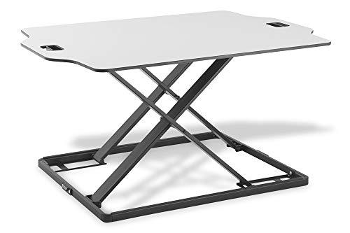 DIGITUS Ergonomischer Steh-Sitz Laptop Notebook Arbeitsplatz Schreibtisch Aufsatz, Arbeitsfläche 79x54 cm, Höhe Individuell Einstellbar, Plattenstärke 8 mm, Weiß