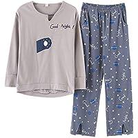 DUKUNKUN Ropa De Casa Pijama Conjunto De Algodón Pantalones De Cintura Elástica Larga Lounge Ropa De Dormir-S