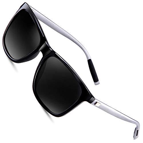 FEIDU Polarized Sonnenbrille Herren damen UV400 Schutz für Herren Autofahren Laufen Radfahren Angeln Golf FD9003 (Schwarz, 2.24)