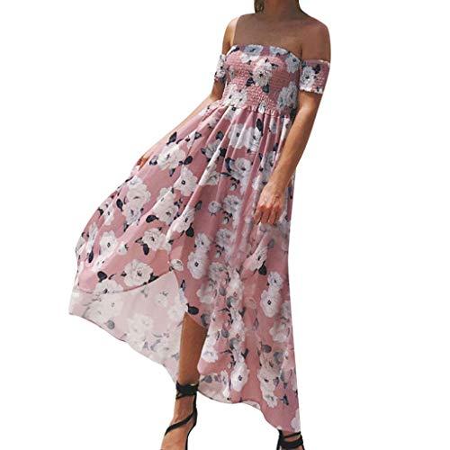 UINGKID Damen Beiläufiges Strandkleid Spitzenkleid Rückenfreies Kleider Sommerkleider Damen Sommer-Slash-Neck Schulterfrei gewickelt bedrucktes sexy Strandkleid - Day Pyjama-hose Valentines