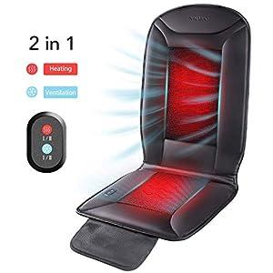 Naipo Sitzauflage Autositzkissen Vibrationsmassage mit Wärmefunktion, kühlendes und heizendes Massagesitzauflage, 3D belüfteten Löchern, für Schulter, Rücken, Taillie