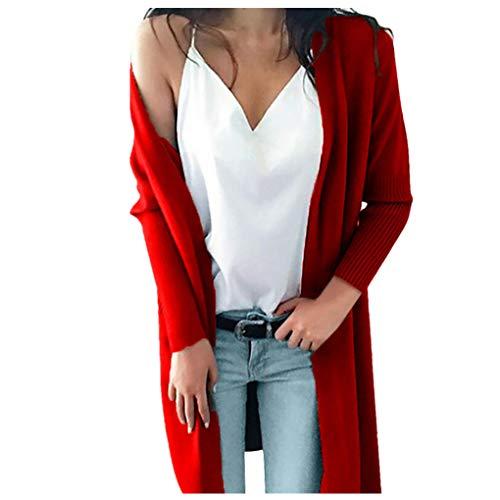 Dorical Damen Winter Bluse Casual Winter Langarm Solide Taschen Lange Pullover Mantel Tops Long Sleeve Clearance -