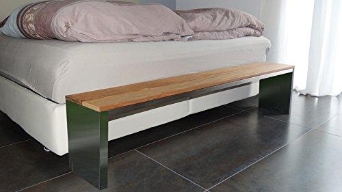 Sitzbank für Wohnraum, BxTxH: 200x30x40cm, Edelstahl (Gartenbank, Bank mit Echt-Holz, Gartenmöbel, Holzbank, Parkbank) (Marke: Szagato)