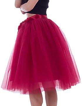 LINNUO Falda de Tul Para Mujer Cortas Plisadas Falda Con Lazo Vintage Rockabilly Falda Acampanada