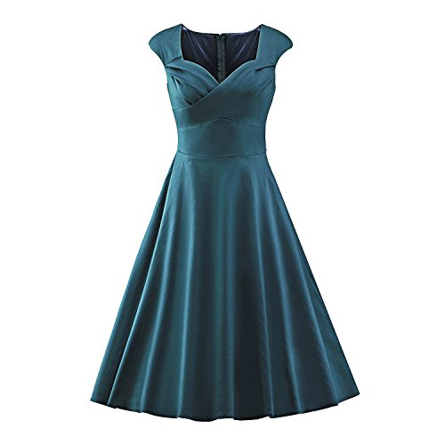 LUOUSE Damen Audrey Hepburn 50s Retro Vintage Bubble Skirt Rockabilly Swing Evening Kleider,darkgreen,XL (Bubble Skirt)