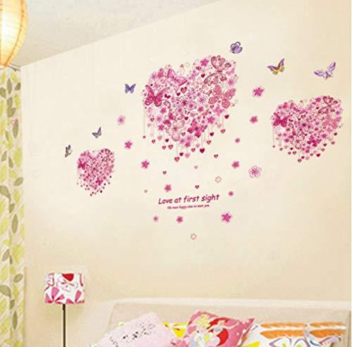 Preisvergleich Produktbild ZBYLL Wall Sticker Herz Blume Schmetterling Wohnzimmer Schlafzimmer Wand Aufkleber Kunst Home Decor Poster Wandbild Hochzeit Dekoration