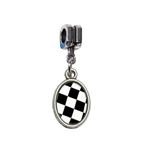 Checkered Racing Flagge Italienische europäischen Euro-Stil Armband Charm Bead–für Pandora, Biagi, Troll,, Chamilla,, ()