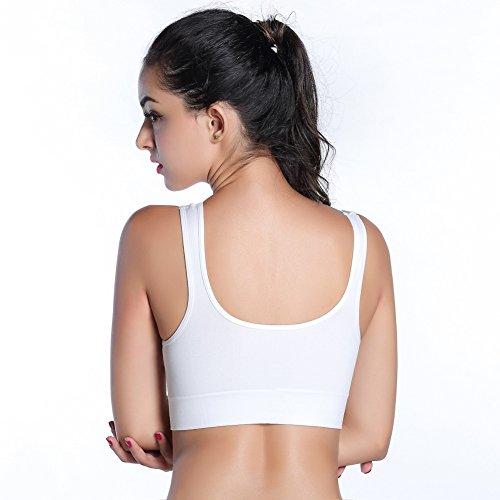 Patgoal Donne Yoga Push Up Reggiseno senza saldatura Canotta a spalle scoperte Bianco