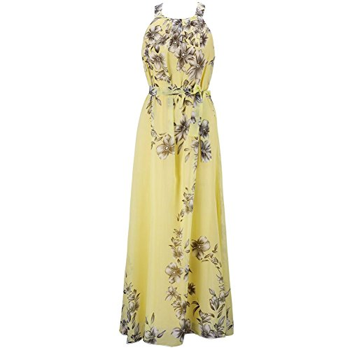 ETOSELL Femmes Summer Beach Boho Long Robes Jaune