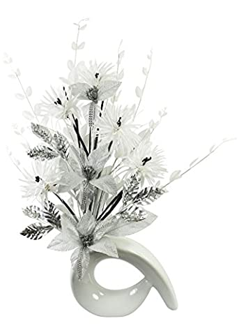 White Diamante Glitter Artificial Flower in White Vase, Table Decorations, Home Accessories, Window Ornament, Living Room Flowers, Height