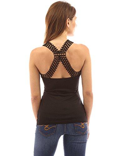 PattyBoutik femmes blouse à bretelles détail dentelle Noir