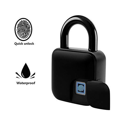 Candado de huella digital, Nuevo Candado de huella digital inteligente Antirrobo Impermeable Seguridad...