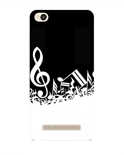 Printvisa Music Musical Black and White Patterns Designs Designer Printed Hard Back Case for Xiaomi Redmi 4A