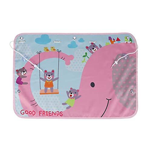 LIOOBO Cortina de la Ventana Lateral del Coche Sombrillas de Dibujos Animados Bloqueador Solar Persianas Protector de la sombrilla del automóvil (Elefante Rosa)