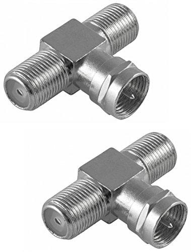 Poppstar 2x SAT TV Coax Verteiler T-Stück (2x F-Buchse auf 1x F-Stecker), F-Adapter Antennen Splitter für Koaxialkabel - Antennenkabel (Antennenadapter Kupplung), silber - Tv-antenne-stecker