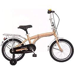 JBHURF Vélo Pliant pour Enfants 2-6 Ans garçons et Filles bébé Poussette bébé vélo à pédales 16 Pouces ( Color : Or )