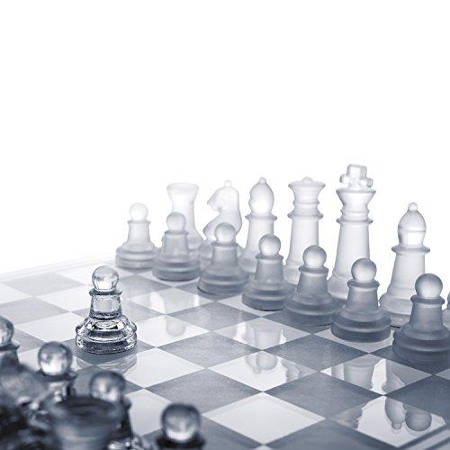 Global Gizmos Schach- und Damespiel aus Benross-Glas, 2 in 1 -