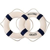 TrifyCore Marine Rescue Buoy Anillo de la boya de natación mediterránea decoración del hogar o los Adornos de la Pared Decorativo Azul 20cm X 1