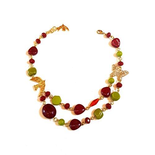 CECILE JEANNE - Collier Delicatesse rouge vert