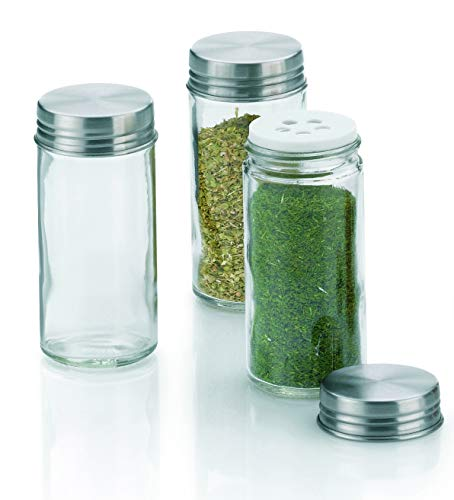 kela 3-TLG. Salzstreuer-Set Fidelis hohe Gewürz-Gläser für grobe Küchen-Kräuter rund Streu-Aufsatz + Edelstahldeckel Silber Küchen-Zubehör Gastro