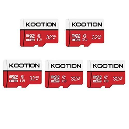 KOOTION Carte SD 32 Go Lot de 5 Carte Micros SD Classe 10 Carte Memoire UHS-I Vitesse jusqu'à 85 m/s,TF Micro SDHC, Micro SD Classe 10, U1 pour Tablette/Drone/Dash Cam/Camera/Phone/Nintendo-Switch/PC