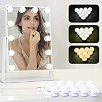 LED Vanity Mirror Lights, Benbilry Hollywood Style Lighted Vanity Lights Kit with 10 Dimmable Light Bulbs, Lighting Fixture Strip with USB Charging Cable for Makeup Vanity Table (Mirror Not Include)