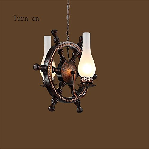 Kronleuchter hängende Lampe American Restaurant kreative mediterrane Holz- ruder Theke Mann Kaffee Industrie personalisierte retro style Kronleuchter traditionellen industriellen Stil