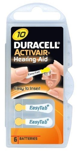Duracell Activair Size 10 (yellow tab) Hearing Aid Battery x60 (10 packs of six cells) (Duracell Hörgeräte-batterien)