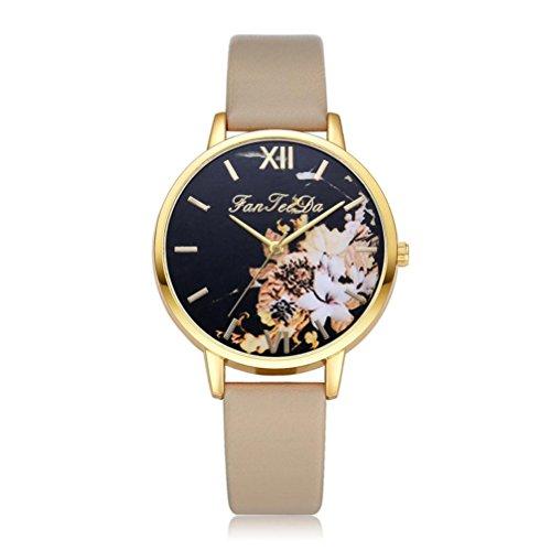 Gaddrt Montre bracelet en cuir de mode de luxe analogique quartz ronde (C)