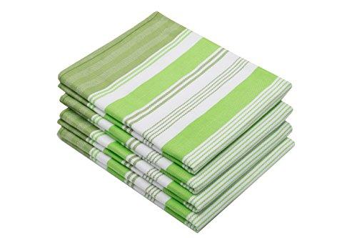 ZOLLNER 4 Trapos de Cocina de algodón 100%, a Rayas Verdes, Disponibles en Otros Colores, 50x70 cm