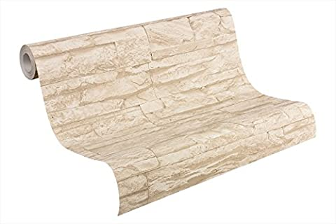 A.S. Création Vliestapete Best of Wood and Stone Tapete in Stein Optik fotorealistische Steintapete Naturstein 10,05 m x 0,53 m beige creme Made in Germany 707130