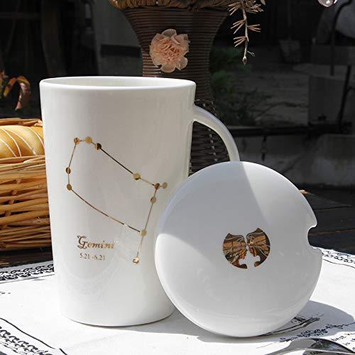 ahliwei Taza De Cerámica Doce Constelación Creativa Taza De Agua Marca Taza De Taza De Cerámica Taza De Taza Con Taza De Café Con Cubierta Géminis