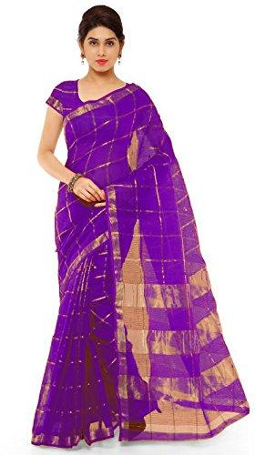 Nirja Creation Women's Cotton Saree (Blue)