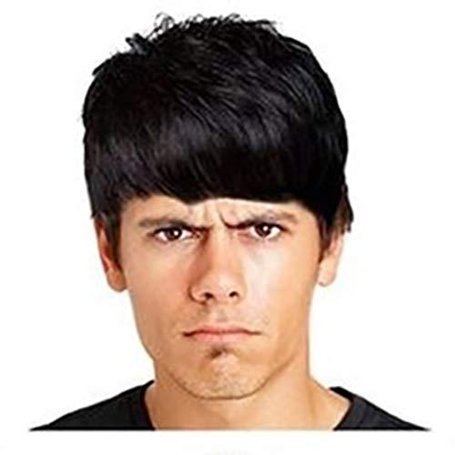 Nourich Herren Perücke, kurz, gelocktes Haar, 3 Farben, glatt, keine Spitze, vorne, flauschige Perücke, Cosplay-Perücke, hitzebeständig, Kunsthaar, für den täglichen Gebrauch (Leia Prinzessin Perücke Kind)