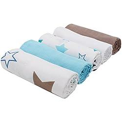 """ZOLLNER® 5 paños de muselina / mantas de muselina / gasas para bebé / arrullos / toquillas aprox. 70x70 cm 100% algodón, estampado y colores lisos, del especialista textil, serie """"Hope"""""""