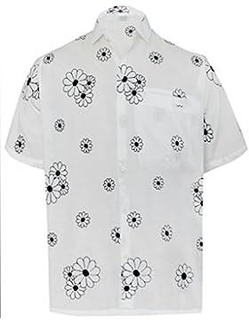 *La Leela* Loro Botón de los Hombres Bolsillo en la Manga Corta hacia Abajo la Camisa Hawaiana Negro
