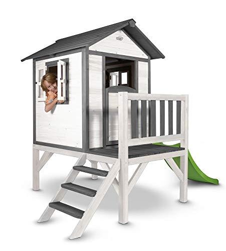 Beauty.Scouts Holzspielhaus Sun XL mit Leiter + Rutsche 168x261x189cm aus Holz in grau-weiß Kinder Kinderspielhaus Holzhaus Stelzenhaus Liebe zum Detail