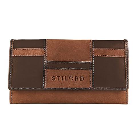 STILORD Leder Portemonnaie Quer mit Reißverschluss Leder Geldbeutel Etui Kellnerbörse