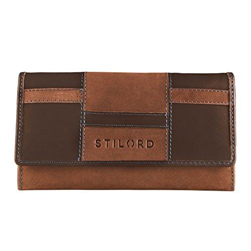 STILORD Leder Portemonnaie Quer mit Reißverschluss Leder Geldbeutel Etui Kellnerbörse Wallet 12...
