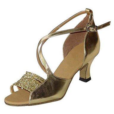 Silence @ pour femme Chaussures de danse latine/Swing/Salsa/Samba satiné/similicuir Chunky Heelblack/marron/rouge/blanc Noir/doré
