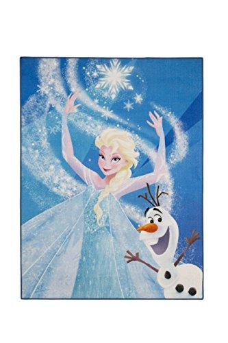 Aminata Kids Teppiche Kinderzimmer Mädchen Disney Frozen 95x125 cm * Made in Europe * rutsch- & lärmhemmend * Kinderteppich Eiskönigin Elsa Olaf Schneemann Prinzessin Spielteppich Spielunterlage (Schneemann-teppich)