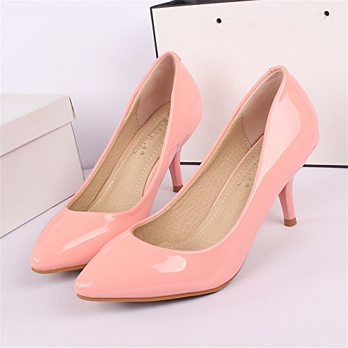 Hxvu56546 Pendant Les Saisons De Printemps Et D'automne De Nouvelles Chaussures Avec Des Talons Hauts Travail Étudiant Wild Shoes Single Pink