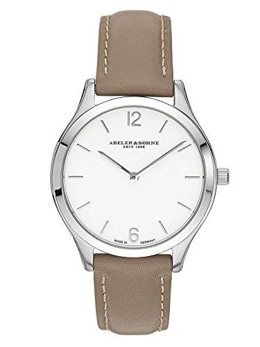 Abeler & Söhne fabricado en Alemania–Reloj de pulsera para mujer con cristal de zafiro y correa de piel as3014