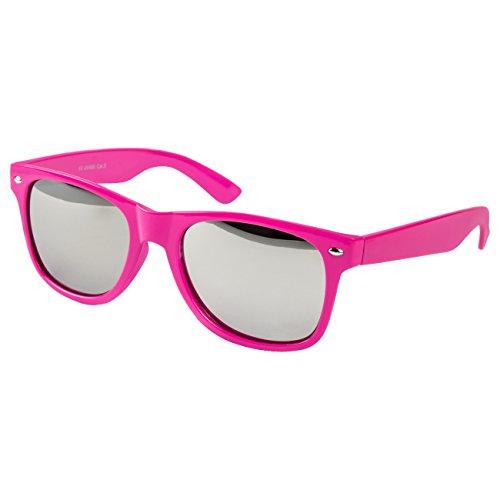Ciffre EL-Sunprotect Sonnenbrille Nerdbrille Brille Nerd Silber Voll Verspiegelt Pink UV400