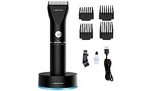 Liberex 2019 Kit Tondeuse Cheveux Barbe pour Homme Électrique - Tondeuse Multifonction Sans Fil Professionnelle avec 4 Sabots, Huile, Brosse de Nettoyage, Support de Charge, Lames en Titane