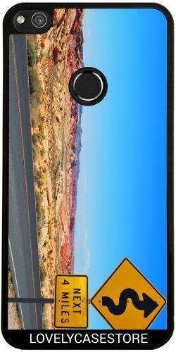 SilikonHülle für Huawei P8 Lite 2017 - Straße USA USA Drehen Vereinigte Staaten Wüste Arid Sun Sky Blue