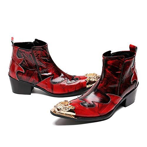 Cowboystiefel für Herren, Schlangenhaut Full Zip Western Spitzen Lederschuhe Martin Stiefel für Nachtclubschuhe Lässige Leder Cowboy Zipper Boots,46 (Klassische Western Stiefel)